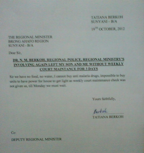Another report to the Regional Minister